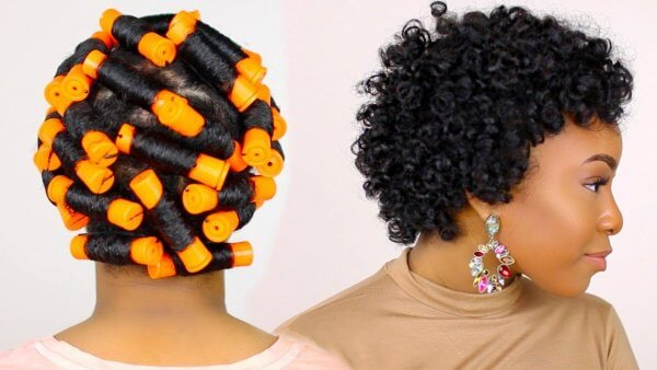 natural hair perm rods on short black natural hair